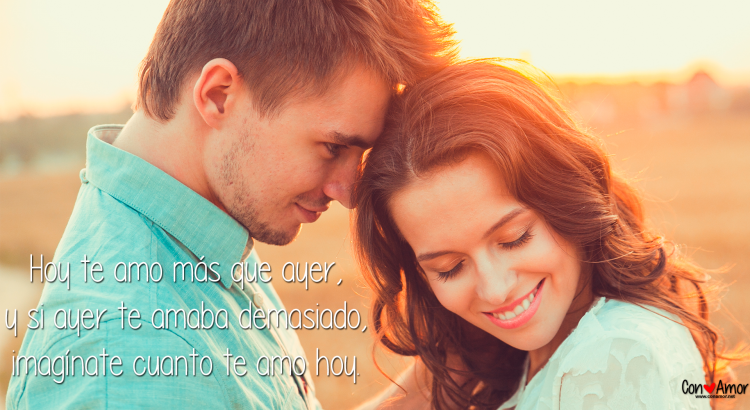 Mensajes de amor - Hoy te amo más que ayer, y si ayer te amaba demasiado, imagínate cuanto te amo hoy.